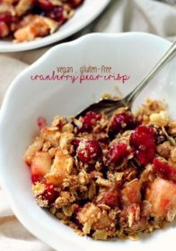 Healthy Cranberry Pear Crisp served in a white bowl