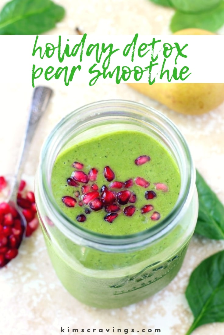 Holiday Detox Pear Smoothie is filled with fiber, antioxidants, and immune boosting nutrients for optimum health. The perfect recovery from loads of festive eats! #greensmoothie #detoxsmoothie #pearsmoothie