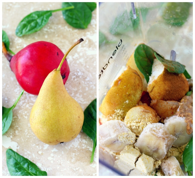 colorful pears and ingredients for green smoothie in a Blendtec blender