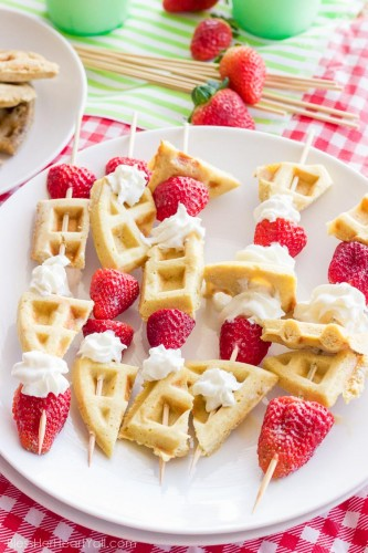 Gluten-Free Waffle Skewers- these brunch-worthy sticks will be popular with everyone, especially the little ones.
