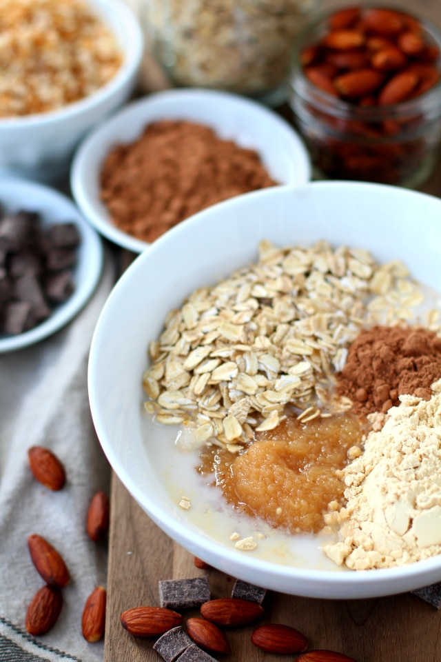 Almond Joy Protein Overnight Oatmeal ingredients before mixing