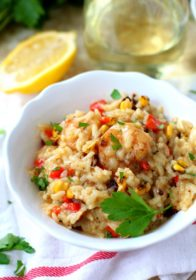 The perfect protein-rich comfort food, this Easy Dairy Free Shrimp Risotto is creamy, hearty and insanely delicious!