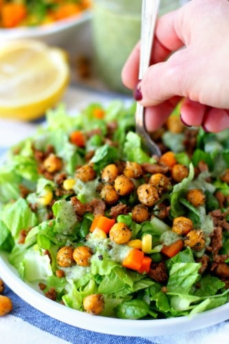 Mixed Veggie Chickpea Salad With Vegan Avocado Ranch Dressing is insanely delicious and such an easy, nutritious dish to recreate!