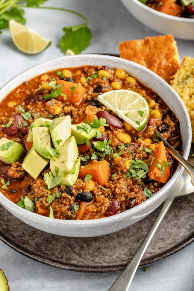 vegetarian chili made with sweet potatoes, quinoa and beans