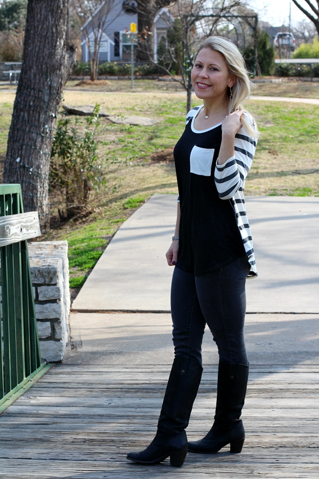 February 2017 Stitch Fix Review- Stanley Striped Raglan Knit Top by Le Lis | XS | 44.00