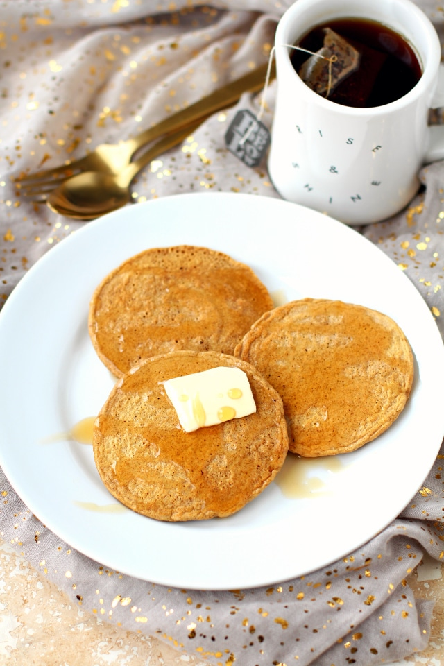 These gluten-free vanilla chai tea pancakes are loaded with pure comfort, warming spices and will give you that warm fuzzy feel good feeling!