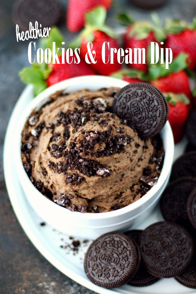 This Healthier Cookies and Cream Dip is so easy, delicious and absolutely perfect for dunking those delicious Oreo cookies!