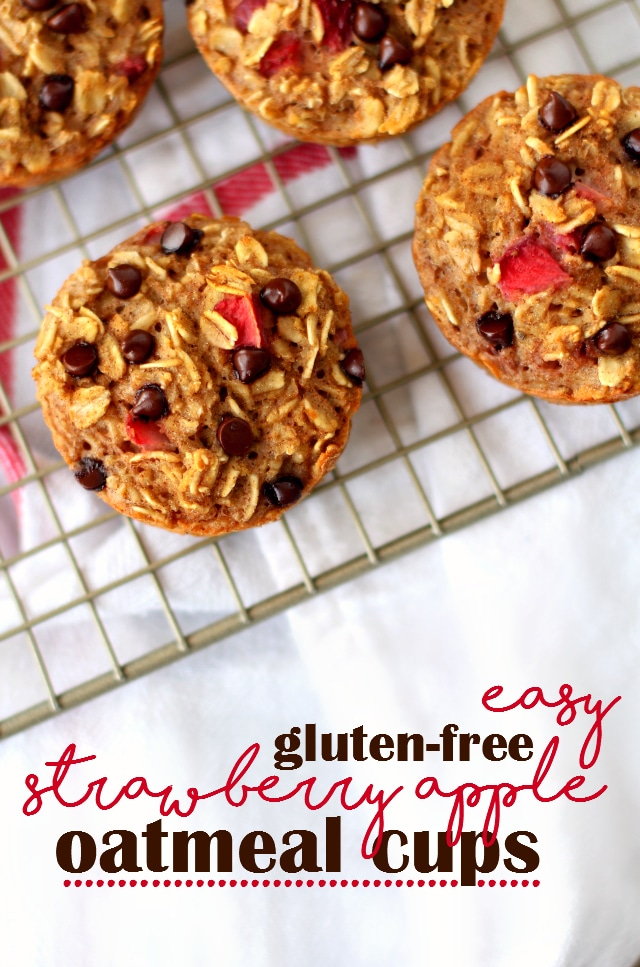 These soft, chewy, texture-filled baked strawberry apple oatmeal cups are naturally gluten-free (make sure your oats are certified GF), kid-friendly and totally customizable.