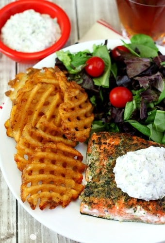 Ranch Seasoned Salmon is seared to perfection and incredibly tasty thanks to my homemade ranch seasoning mix and topped with Creamy Ranch Sauce.