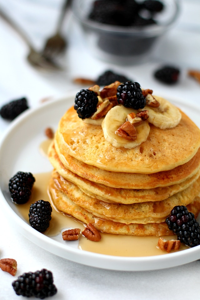 Start your day with the most delicious, easy-to-make, fluffy gluten-free yogurt pancakes! Airy and light - you guys are going to LOVE these!
