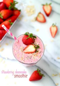 Strawberry cheesecake lovers you're in for a real treat. Yes, this smoothie is definitely a keeper. It's full of protein, naturally sweetened, naturally gluten-free, ready to go in minutes, and tastes like the dessert that inspired it. Such deliciousness!