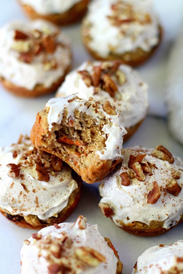Paleo Carrot Cake Cupcakes with one bite taken out