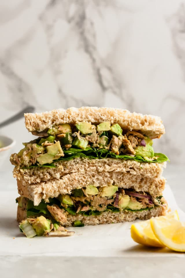 stacked sandwiches filled with Easy Avocado Tuna Salad