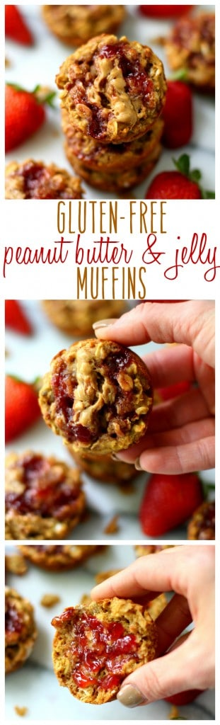 Topped with fruit spread and peanut butter swirls, these Gluten-Free Peanut Butter and Jelly Muffins are so soft, tender and scrumptious!