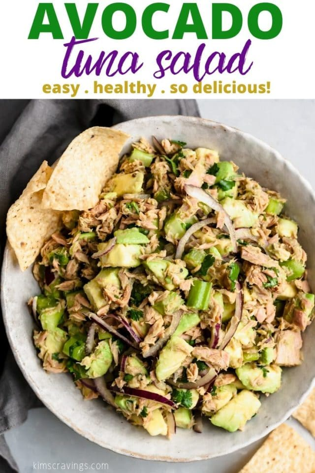 avocado tuna salad in a large bowl served with tortilla chips