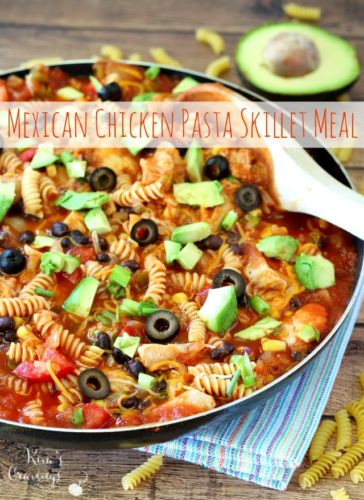 Quick, easy and tasty! This effortless Mexican Chicken Pasta Skillet Meal comes together in 20 minutes flat.