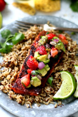 Blackened Salmon Topped With Strawberry Avocado Salsa - A hearty, intensely flavorful dish that's as colorful as it is delicious. Just 20 minutes required!