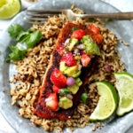Blackened Salmon with Strawberry Avocado Salsa - a special dish, perfect for Mother's Day!