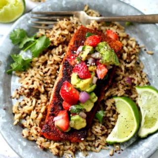 Blackened Salmon With Strawberry Avocado Salsa (A meal for Mom!)