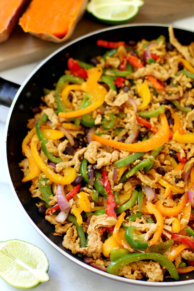 You can use any favorite ingredients for the stuffing. I'm a total sucker for Mexican and Southwestern flavors, so I went with bell peppers, onion, black beans, lime juice, cilantro, avocado and a new-to-me product from Morning Star Farms - Veggie Meal Starters Veggie Pulled Pork. Wow. Just wow.