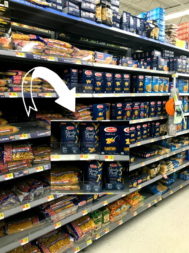 The Barilla Ready Pasta for this Quick Lo Mein Pasta can be found at Walmart conveniently with other dry pasta products.
