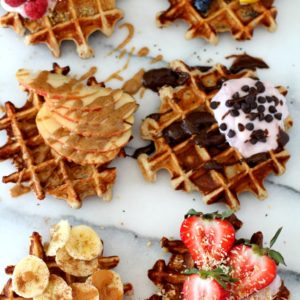 The best-ever fluffy yogurt protein waffles require just 4 ingredients, 10 minutes and 1 bowl. They are thick, soft, perfectly sweet, buttery and perfect! Made naturally gluten-free, so just about everyone can enjoy!