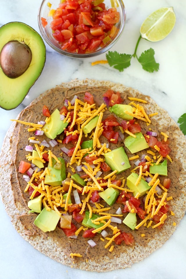 Healthy Southwestern Pinwheels- cheese comes next. Feel free to use dairy free.