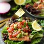 Seared Salmon With Watermelon Tomato Avocado Salsa
