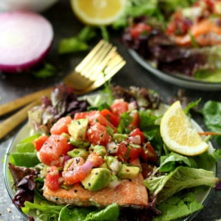 Seared Salmon With Watermelon Tomato Avocado Salsa