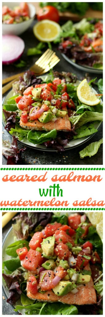 Ready in a flash, at 20 minutes or less, this Seared Salmon with Watermelon Tomato Avocado Salsa is full of incredible texture and is bursting with fresh summertime flavors!