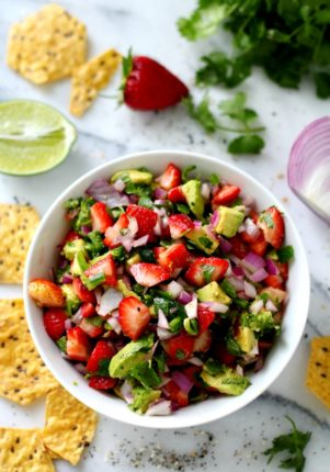 strawberry salsa served with tortilla chips
