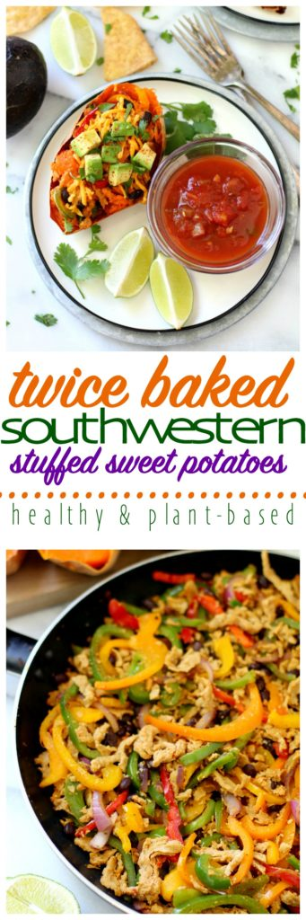 Twice Baked Southwestern Stuffed Sweet Potatoes are loaded with protein and healthy stuff, but still taste amazing to the pickiest of eaters!