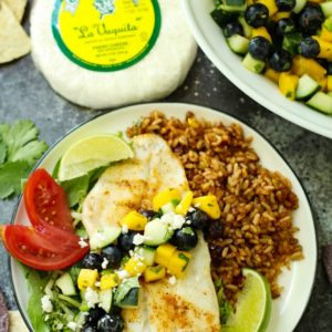 Grilled Orange Roughy with Blueberry Mango Salsa