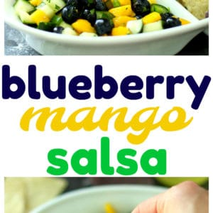 This Blueberry Mango Salsa is the perfect cool, refreshing summer app! Grab the Mission Organics Tortilla Chips and get this party started!