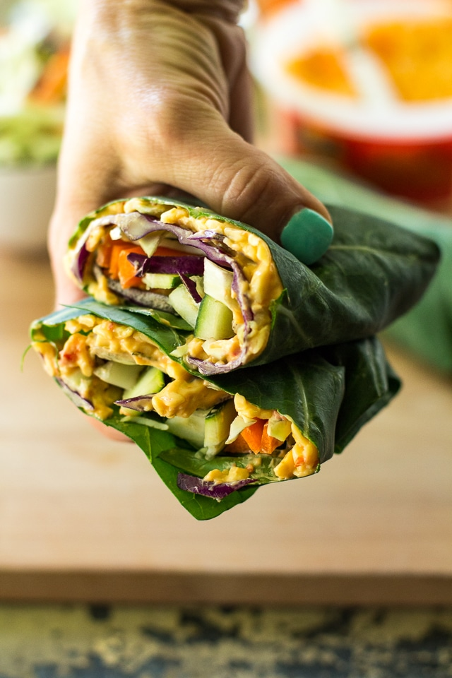 These easy and healthy veggie packed Pimiento Cheese Collard Wraps are perfect for a light lunch, appetizer or snack. Vegetarian and gluten-free.