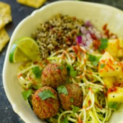 Make these Hawaiian Meatball Meal Prep Bowlsahead of time and you'll have FOUR work lunches ready and waiting!