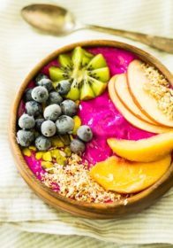 Gorgeous, healthy morning fuel! Pitaya Peach Power Smoothie Bowl is loaded with antioxidants, protein, and fresh flavor. Dairy free and easy to make!