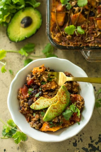 This easy Southwestern Quinoa Sweet Potato Casserole dinner will please everyone in your crew—even picky kids! Gluten-free and easily adapted to vegan.