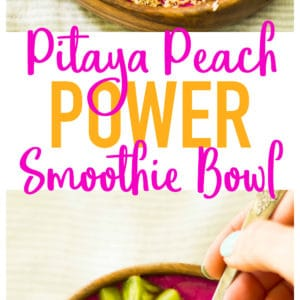 Gorgeous, healthy morning fuel! Pitaya Peach Power Smoothie Bowl is loaded with antioxidants, protein, and fresh flavor. Allergen free and easy to make!