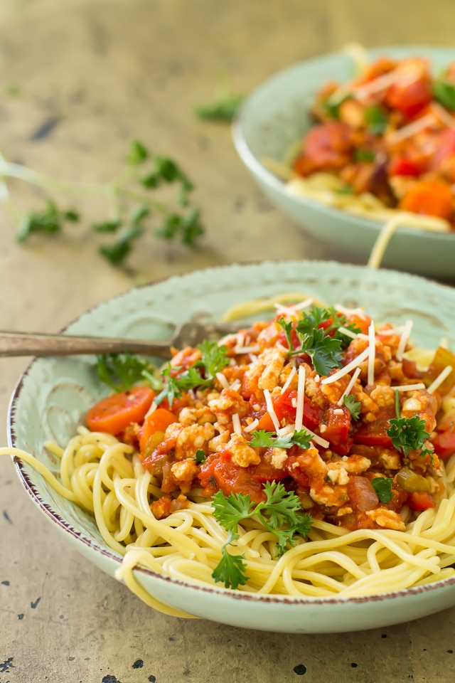 A lighter version of the Italian classic, this veggie packed turkey bolognese has all of the rich, meaty flavors you crave served over a bed of my favoriteSkinner® pasta.
