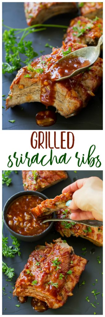 Grilled Sriracha Ribs are falling off the bone amazing, cooked on the grill and smothered in an irresistible saucy Sriracha sauce! Who knew you could enjoy amazing ribs, right at home?