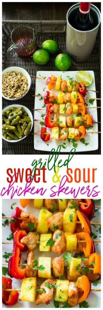 Fire up the Grill! You guys are going to love these irresistible Grilled Sweet and Sour Chicken Skewers! They're easy, guilt-free and super flavorful.