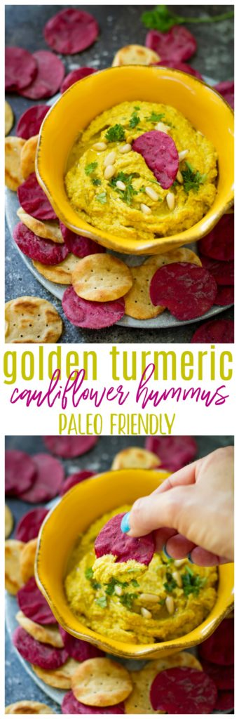 This golden turmeric cauliflower hummus is an easy, tasty paleo, vegan and gluten-free dip that's made with wholesome ingredients. It works great as a snack or appetizer and it's ready in 10 minutes!