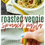 This Roasted Veggie Spinach Pastafeatures loads of spinach and roasted vegetables tossed with a light balsamic sauce and served over my favorite Skinner® pasta!