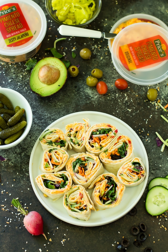 Pimiento Cheese Pinwheel Bites make for a simple, nutritious, tasty lunch or snack. Choose your own filling to make these completely individualized!