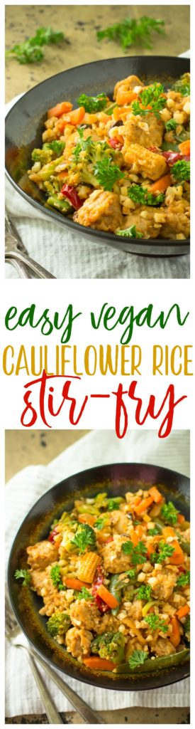 Extremely flavorful, Easy Vegan Cauliflower Rice Stir-Fry in just 20 minutes! Spicy-sweet, protein-packed, and a lighter spin on takeout!