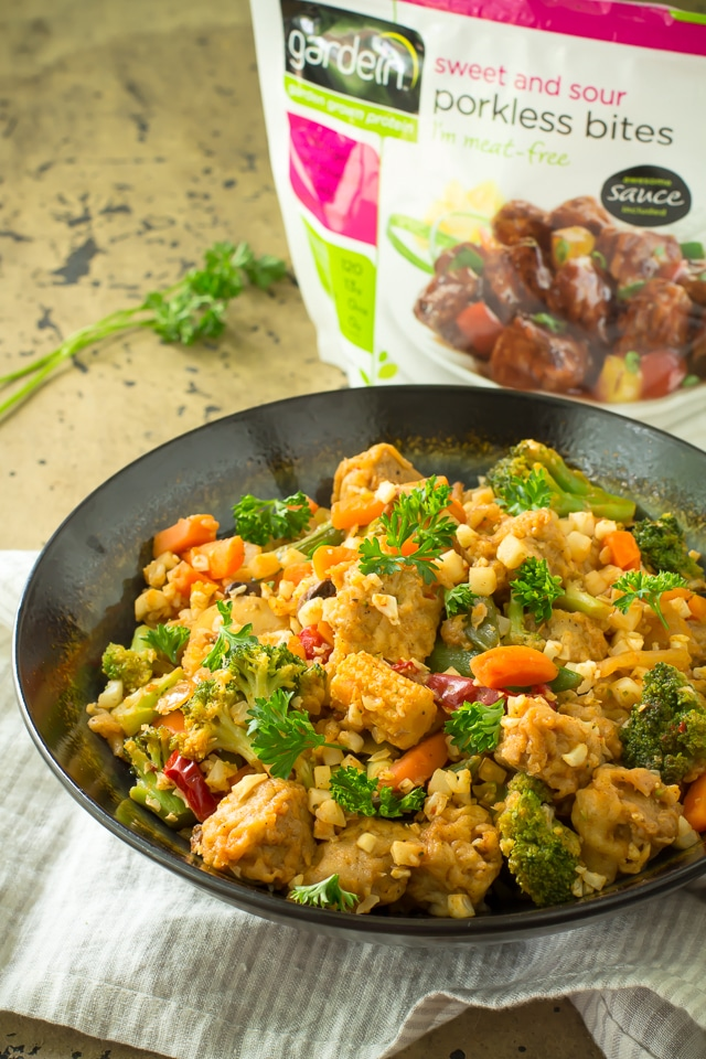 Extremely flavorful, Easy Vegan Cauliflower Rice Stir-Fry in just 30 minutes! Spicy-sweet, protein-packed, and a lighter spin on takeout!