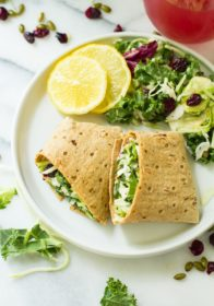 Take your sandwiches and wraps up a notch with these fully loaded Sweet Kale Vegetable Salad Wraps! Packed with fresh vegetables, dried cranberries, roasted pumpkin seeds and a delicious poppyseed dressing, these low calorie, high flavor wraps are the perfect vegetarian and gluten-free lunch or dinner!