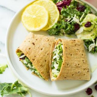 Sweet Kale Vegetable Salad Wraps