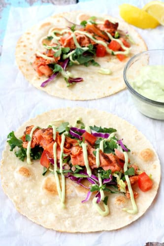 Seared Salmon Tacos with Avocado Crema